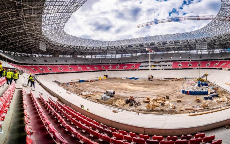 A játéktérről is körbefotóztuk az épülő Puskás-stadiont